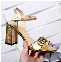 Wholesale chunky heels ankle strap - Designer Letter G Med heel Leather Ankle Strap Shoes for women 8cm high chunky heels Summer Sandals