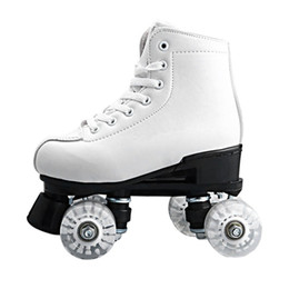 Wholesale Colorful Skate Shoes - Basecamp Double Roller Skating Quad Two Line Roller Skate 4 Wheels Lace-up Skate Shoes with Colorful LED Light Free Shiping