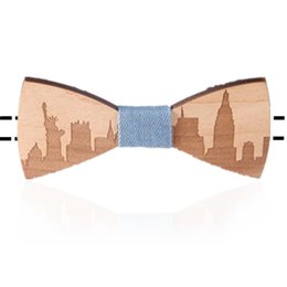 Wholesale Unique Neck Ties - 2017 Fashion New York Wood Elegant Gentleman Bow Ties Handmade Wedding Party Bow Ties Butterfly Wooden Unique Tie for Man