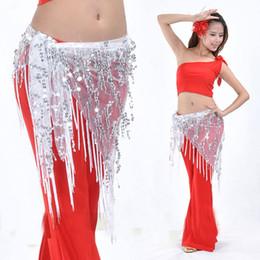 Catene d'anca di danza del ventre online-Belly Dance Hips Sciarpa Indian Dance Vita Catenina con paillettes Cintura con cintura Bellydance Belt Bellydance Hips Sciarpa 9 colori
