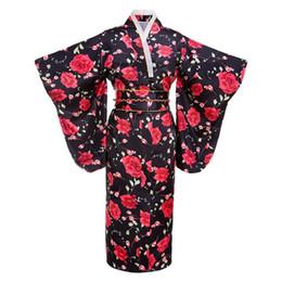 traje vermelho japonês Desconto Preto vermelho Flor Japonesa Mulheres Moda Tradição Yukata Kimono Com Obi Do Vintage Traje Cosplay Vestido de Noite Um tamanho