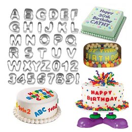 Wholesale baking fruit cakes - 37pcs Stainless Steel Alphabet Letters Numbers Cake Mold Cookie Biscuit Fruit Cutter Baking Set
