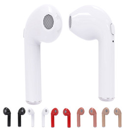 Wholesale dhl wireless bluetooth headphones - i7 TWS Twins True Wireless Bluetooth Headphones Earphones V4.1 Earbuds Stereo Headset With Retail Package Free DHL