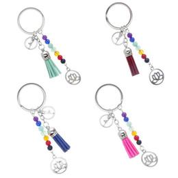 Lotus keychain online-2018 7 Chakra Natursteine Yoga Perlen Schlüsselanhänger Lotus Anhänger Quaste Schlüsselbund Charme Schlüsselanhänger Tasche Schmuck Für Frauen Weihnachtsgeschenk B781SF