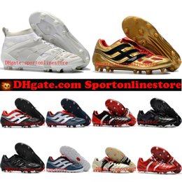 Wholesale Leather Turf Soccer Shoes - 2018 mens leather Predator Accelerator DB FG soccer cleats Predator Precision indoor soccer shoes Mania Champagne turf football boots cheap