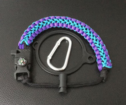 Wholesale compass whistles - Paracord Handle Paracord Carrier Strap Cord with Safety Ring & Carabiner & Compass & Whistle for 18oz 32oz 40oz 64 Wide Mouth Water Bottles