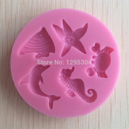silicone animal cake mould Promo Codes - Wholesale- New 1pc Sea Animal Shaped Silicone Cake Mold Sugar Paste 3D Fondant Cake Decoration Tools Soap Mould