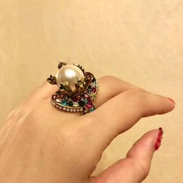Wholesale Vintage Pave - 2018 Vintage brass luxurious ring with nature colorful pearl decorate and stamp logo charm ring jewelry christmas day thanksgiving valentin