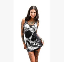 Wholesale girls skull print shirts - 2018 hot-selling women dress Sexy skull dress Sleeveless black T-shirt skirt Cool girl rock street summer long vest tank