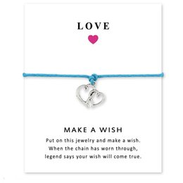 Carino carte d'amore online-1 pz multi colori carino doppio cuori amore braccialetto di fascino braccialetti donna uomo argento antico accessori regalo gioielli regolabile