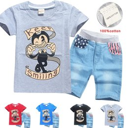 Wholesale Machine For T Shirt - Children Fashion Dabbing Bendy And The Ink Machine Design Funny clothing set Short Sleeved T-shirt And shorts Jeans For 4-12 Years