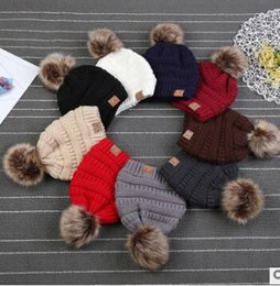 Wholesale Kids Winter Fur Hats - Kids CC Trendy Hats Kids Knitted Fur Poms Beanie Winter Luxury Cable Slouchy Skull Caps Fashion Beanie Outdoor Hats KKA3780