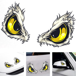 Wholesale 3d Reflective Stickers - 1 Pcs 10x8cm 3D Stereo Reflective Cat Eyes Car Stickers Car Side Fender Sticker Rearview Mirror Windows Vinyl Decal Car Styling