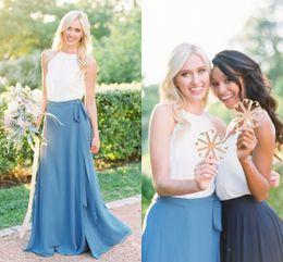 Wholesale two piece halter wedding dresses - 2018 Bohemian Bridesmaid Dresses Halter White Blue Two Piece Bridesmaid Gowns Ribbon Sash Floor Length Wedding Guest Dresses
