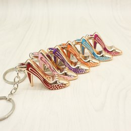 Wholesale Purse Charms Keychain - IN STOCK! Free DHL 6 Different High Heels Keychain Women Bag Charms Keychain Purse Pendant Cars Holder Mini Shoe Key Ring Buckle Hanging