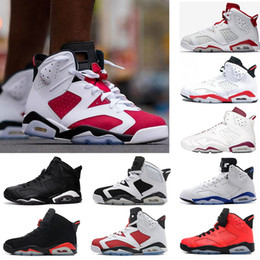 Wholesale Down Leather - 2018 Retro 6 men Basketball shoes black cat Hare Carmine White Infrared Angry bull sport blue Oreo unc Maroon Chrome sports sneaker shoe