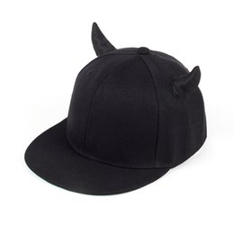 8433ccee6bb0c black cotton adjustable baseball cap with Horns high quality snapback hat  for women men fashion sun hat outdoor travel cap