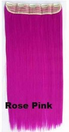 Extensiones de cabello largo colorido online-130 g de color rosa rosa 60 cm / 24 pulgadas fatanstic colorido sintético largo y recto Clip en extensiones de cabello Mujeres pelo 5 clips de una pieza