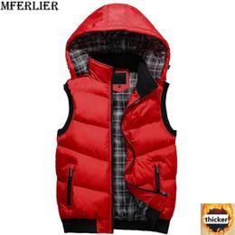 MFERLIER bolsillo de invierno hombres chaleco abrigo con capucha más el tamaño grande 5XL chaqueta gruesa ocasional chaleco de algodón masculino homme verde negro chaleco desde fabricantes