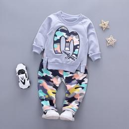 Wholesale Boys Warm Pants - Baby Boy Autumn Clothes Girl Letter M Warm Cotton Clothing Set For Kid Camouflage Jackets Pant 2pcs Fashion Children Sports Suit