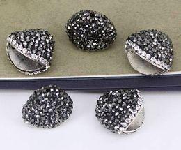 bouchon de perles de 9 mm Promotion La vente au détail et en gros 20pcs pavent les extrémités de strass, les chapeaux, les chapeaux en métal, les embouts de boucle à l'extrémité du cordon pour la fabrication de bijoux de bracelet / collier