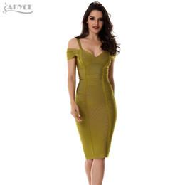 2018 Printemps Robe Femmes Parti Bandage Dress Olive Vert Hors De L'épaule Longueur Au Genou Superbe Celebrity Prom Sexy Bodycon ? partir de fabricateur