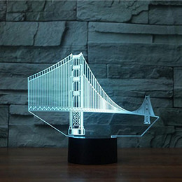 3D Golden Gate Bridge Nuit Lumière Tactile Table Bureau Optique Illusion Lampes 7 Couleur Changement De Lumières Décoration de La Maison De Noël Cadeau D'anniversaire ? partir de fabricateur