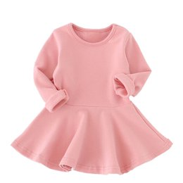 Wholesale Pale Pink Girls Dresses - Baby Girl Solid Cotton Dress Fashion Long Sleeve A-Line Ruffles Dresses Spring Autumn Infant Soft Clothes Newborn Baby Party Dresses