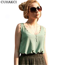 Wholesale Cheap Black Tank Tops Women - Candy Color Casual New Tank Tops Wavy Loose Vest Sleeveless Chiffon Tees Women Cheap Undershirt S096