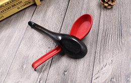 Wholesale Japanese Spoons Wholesale - DHL free shipping Red Black Color Home Flatware Japanese Plastic Bowl Soup Spoon Melamine Porridge Spoon