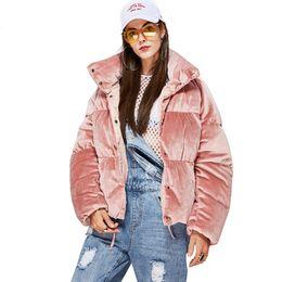 Nueva Moda de invierno Mujer gruesa 90% de plumón Chaqueta de terciopelo MINI Parkas rosa dulce Abrigo de niña linda Cálida Outwear desde fabricantes