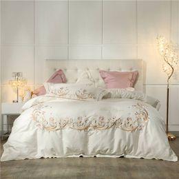 Colchas de color crema online-Color de la crema 60S Coon Bedding set 4pcs flores bordado sábana funda de almohada funda nórdica cama set edredón ropa de cama