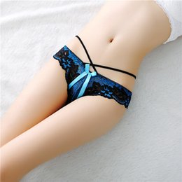 Wholesale Low Waist Transparent Thong - Lace Ladies Trousers with hollow briefs pants transparent sexy women low waist thong