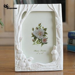 Wholesale Tree Picture Frames - 6inch Resin Three Rabbit Under Tree Picture Frames Korean Style Desktop Photo Frames Gift Ornaments Home Decor F