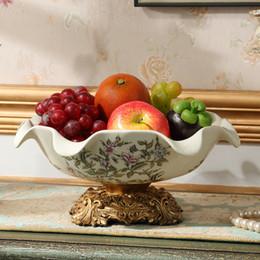 Wholesale Ceramic Decoration Home Ornaments - retro crack ceramic disc Home Furnishing big living room coffee table table decoration ornaments gift dried fruit bowl