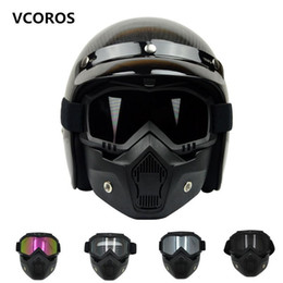 Wholesale Motorcycle Helmets - New VCOROS Modular Mask Detachable Goggles And Mouth Filter Perfect for Open Face vintage Motorcycle Helmets Coolplay mask