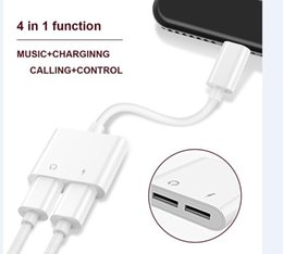 Wholesale Audio Wholesalers - 2 in 1 Dual For Lightning to Headphone Audio Charger Adapter Connectors Cable For iPhone 7 8 X Plus Charging Music