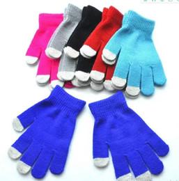 Детские перчатки теплая зима многоцелевой емкостный половина fingerc сенсорный экран перчатки Рождественский подарок для iPhone iPad смартфон от Поставщики телефоны с сенсорными экранами