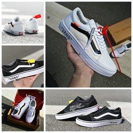 Wholesale Red Tens - 2018 THE TEN Off The Wall X VANS Old Skool Running Shoes Black Virgil Abloh Custom Black Designer Casual Canvas Sneakers 35-44