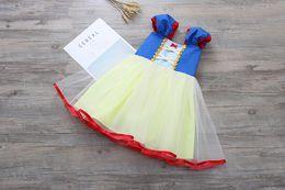 Schneewittchen für mädchen online-Neuheiten Mädchen Kleidung Mädchen Kleider Kinder Boutique Kleidung O-Ausschnitt Weiß Schnee Prinzessin Mädchen Kurzarm Kleider 2 Farben