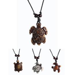 Wholesale Turtle Necklace Bone - New Fashion Black Rope skull White Brown Cute tortoise turtle Necklace Pendant For Women Men simulated-bone Jewelry