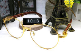 Wholesale Fashion Brands France - France Design Men Full Gold Frames Glasses Brown White Wooden Buffalo Horn Glasses Brand Optical Sunglasses Women Wood Glasses Eyewear