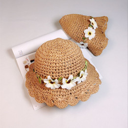 Wholesale hat fisherman - little kidsChild fisherman hat girl straw hat summer thin air shading cap baby girl princess fresh sunscreen beach