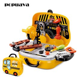 Wholesale Plastic Garden Boxes - Construction Tools Box Toy Set for Baby Boy Plastic Chainsaw Screws Hammer Pretend Play Kids Engineering Tool Suitcase Garden