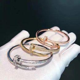 Wholesale Nail Bracelet Diamonds - Luxurious quality brand name Classic Design Titanium steel nails punk lovers bangle Size for Women bracelet with 500pcs diamonds women jew