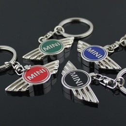 Logos de voitures ailes en Ligne-Pour MINI Cooper 4 couleurs Autobots Angel Wings Marque symbole de la voiture de sport Porte-clés Porte-clés Métal Auto Car Mini Wing Logo Porte-clés