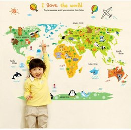 Decalcomania dell'autoadesivo della mappa del mondo online-60 * 90cm Animal Cartoon World Map Wall Sticker Adesivo murale Home Decor Decalcomanie da camera da letto per bambini Adesivo sfondo animale