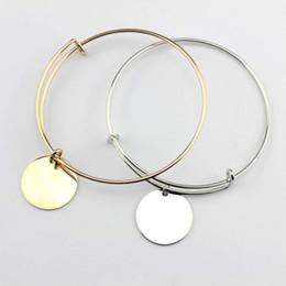 bracelete de pulseira de ouro plano Desconto 2018 Banhado A Ouro Banhado A Ródio Blanks Brancos Moda Monograma Blanks Charme Pulseiras Plana Rodada Disco Gravado Bangle Bracelet Ajustável