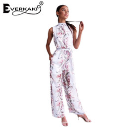 Wholesale Ladies Summer Outfits - Everkaki Women Boho Sexy Sleeveless Halter Summer Jumpsuit Romper Flower Print O Neck Women Set Ladies Empire High Waist Outfits