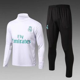Wholesale Grey Men S Suit - TOP quality 17-18 Real madrid white black pants sweater 17-18 new soccer tracksuit set training Suit men Clothes Tracksuit Male Hoodies